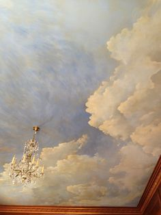 sky ceiling mural details — Warner V Graves Ceiling Painting, Ceiling Murals, Bedroom Ceiling, Faux Painting, Ceiling Decor, Ceiling Design, Wall Murals, Ceiling Panels, Ceiling Ideas