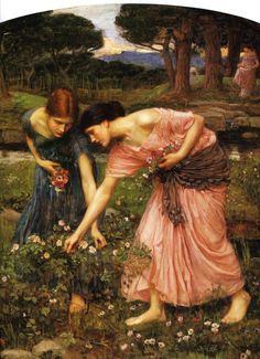 """Painting of the Day! John William Waterhouse (1849-1917) """"Gather Ye Rosebuds While Ye May"""" Oil on canvas - To see more works by this artist please visit us at: http://www.artrenewal.org/pages/artwork.php?artworkid=12286&size=large"""