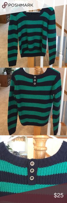 Women's striped knit sweater Casual sweater with navy and turquoise colored stripes, buttons on the back add nice detail, cute with jeans. In great condition! Forever 21 Sweaters Crew & Scoop Necks