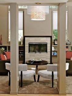 Chandelier in front of fireplace concept    Spaces Tile Fireplace Design, Pictures, Remodel, Decor and Ideas - page 2
