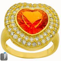 SUBLIME ORANGE RAINBOW TOPAZ 14K GOLD .925 SILVER COCKTAIL RING size 6 C89815 #jewelexi #Cocktail