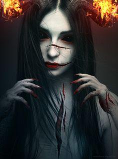 Kunthi Return by on DeviantArt Dark Fantasy Art, Dark Gothic Art, Final Fantasy, Dark Art Photography, Horror Photography, Demon Art, Arte Horror, Horror Art, Art Sinistre