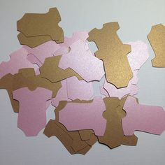 Baby Onesie Die Cuts ~ 2 inch Shimmer Pink & Gold Onesie Cut Outs,  Baby Shower Decor, Girl Baby Shower Favor Tags, Decorations, Wish Tree