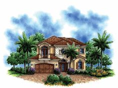 Mediterranean-Modern House Plan with 3012 Square Feet and 4 Bedrooms(s) from Dream Home Source | House Plan Code DHSW68781