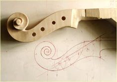 Viola scroll design next to the almost finished scroll. {More About the Violas} Lashof Violins