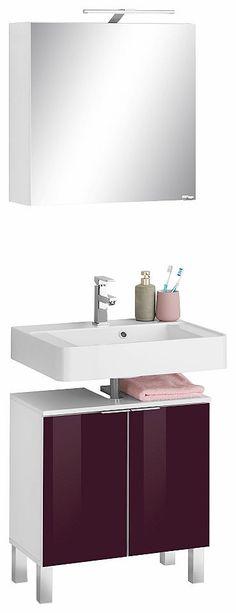 Badezimmermöbel Set in Grau Hochglanz Weiß (5-teilig) Jetzt - badezimmermöbel weiß hochglanz