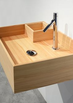 Sink (price upon request) Nendo for Bisazza Bagno by Dwell. Browse inspirational photos of modern homes. From midcentury modern to prefab housing and renovations, these stylish spaces suit every taste. Wooden Bathroom, Wooden Kitchen, Kitchen And Bath, Wood Sink, Wood Vanity, Style Oriental, Bathroom Toilets, Bathroom Basin, Bedroom Cabinets