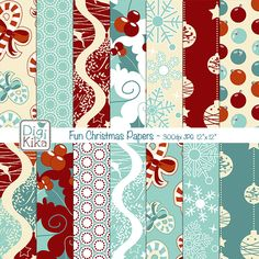 This Christmas Digital Papers pack includes 14 vintage and seamless digital scrapbook papers in high resolution. This Christmas papers set is suitable for scrapbook, card design, invitation making, stickers, jewelry, paper crafts, web design, and a lot more.