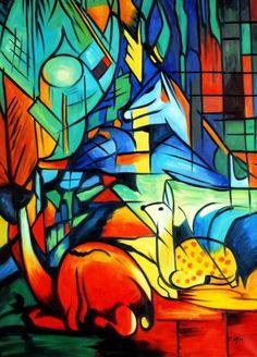 Franz Marc (1880 - 1916) -4 Aanvankelijk werkte Marc in een naturalistische stijl. Door de loop der jaren versimpelde hij zijn vormen. Kleur ging een belangrijke plaats innemen.