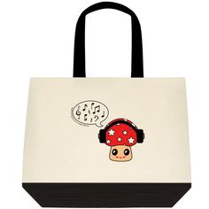 """""""Music Shroom,"""" Two-Toned Tote Bag Color:  Natural Off-white/Black Color is as pictured here in this image. 100% Cotton (19"""" x 15"""" x 6"""") Find the Two-Toned Tote Bag @  angelwingz_star_designz. $42.99 no extra shipping applied. Ships in U.S.A except for HI & AK."""