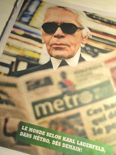 From the pages of the metro: Karl Lagerfeld-Special Edition issue printed on Tuesday (February in several cosmopolitan cities throughout the world. Montreal's version was published in French. Karl Lagerfeld, Throughout The World, Learn French, Cosmopolitan, Tuesday, Cities, February, Learning, Printed