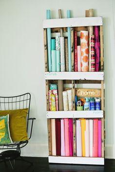 DIY Pallet Storage Shelving - http://www.2014interiorideas.com/decor-ideas/diy-pallet-storage-shelving.html