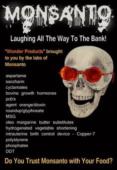 Stop Monsanto products are aspartame, saccharin, bovine growth hormones, MSG, Agent Orange Dioxin - https://www.pinterest.com/RebaRossetti/activism-stop-monsanto/