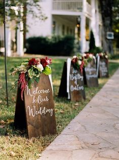 Hand lettered wooden signage to welcome your guests with true style / http://www.deerpearlflowers.com/rustic-outdoor-wedding-ideas-from-pinterest/ #outdoordiygifts