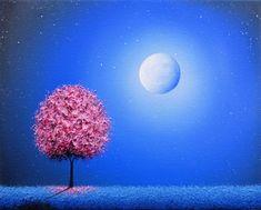 Pink Tree Print, Modern Cherry Blossom Wall Art, Mini Art Print, Blue Night Landscape, Starry Sky Art, LIMITED Edition Giclee Print, 4x5 Blossom Trees, Cherry Blossom, Pink Trees, Landscape Paintings, Tree Paintings, Abstract Landscape, Landscapes, Thing 1, Impressionist Art