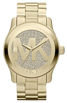 Michael Kors OFF! This beautiful iconic Michael Kors womens quartz watch features gold pave with embossed MK logo. With a striking oversized logo this Michael Kors Runway timepiece shines in gold-tone stainles Outlet Michael Kors, Handbags Michael Kors, Michael Kors Watch, Mk Handbags, Michael Watches, Designer Handbags, Stainless Steel Watch, Stainless Steel Bracelet, Swagg