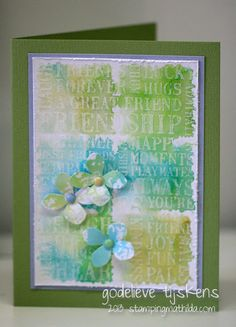 On this card I used a resist technique with gesso and Distress inks. I used a brayer to apply gesso to the Friendship word block stamp, and ...