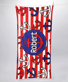 Take a look at this Red Anchor Personalized Towel by Tickled Pink NOLA on #zulily today!