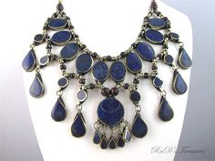 Large BIB Afghan Tribal Ethnic Genuine Blue LAPIS LAZULI Stone Necklace