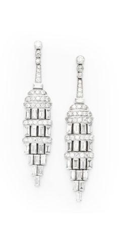 A Pair of French Art Deco  Diamond Ear Pendants