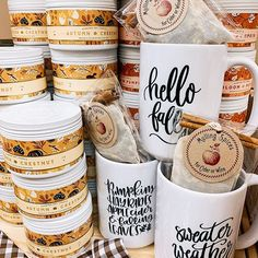 "FALL into this seasons new candles, mugs and mulling spices!! Head over to Boxandbowshop.com to includes theseitems and more in your ne ""Build Your Own Box"". Mulling Spices, Box Studio, Boxes And Bows, Be My Bridesmaid, Baking Ingredients, A Boutique, Cookie Dough, Custom Design, Artisan"