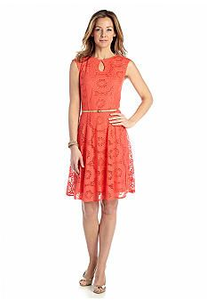 London Times Belted Fit and Flare Lace Dress - Belk.com