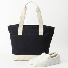 Made of sturdy organic cotton, MUJI tote bags and slip-on sneakers are also water repellent. Muji, Slip On Sneakers, Cosmetic Bag, Organic Cotton, Pouch, Tote Bags, Cosmetics, Water, Fashion