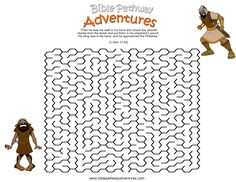A maze activity sheet for kids from the story, Facing the Giant.
