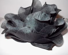 Large Black Flower Hair Barrette Hand Sewn by DeniseDoesCouture, $7.00