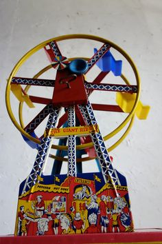 Tin Circus Toy  1950s Ferris Wheel Giant Ride Wind Up by EmporioX