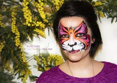 FLUO TIGER Face Painting by Silvia Vitali