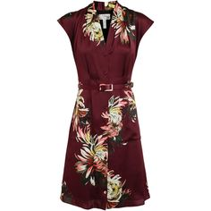 ERDEM Floral Print Silk Dress with Belt ($950) ❤ liked on Polyvore featuring dresses, v neckline dress, sleeveless floral dress, red v neck dress, maroon dress and maroon red dress