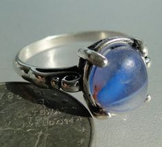 hlseaglassjewelry-vcm - BLUE WHITE SEA GLASS MARBLE RING