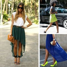 Neon and the High-Low Hem. Absolutely adore the high low hem! Fashion D, Party Fashion, Fashion Beauty, Fashion Outfits, Womens Fashion, Green Skirt Outfits, Passion For Fashion, Spring Summer Fashion, Dress To Impress