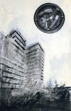 """Smokescraper. Illustration for the book """"Cronista della solitudine"""" di Antonio Veneziani. Ink+Acrylic and collage on Paperwood. Hacca Edizioni. 2007."""