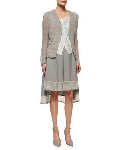 Elie Tahari May Linen Jacket, Vita Suede Fold-Over Crop Blouse & Florence Skirt W/ Mesh Trim