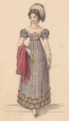 Ackermann's Feb 1822. Tartan dress