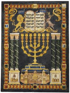 Montefiore mizrach.  From the estate of the 19th c. Jewish businessman and philanthropist, Moses Montefiore, in Ramsgate. It is designed as a mizrach, which indicates the direction of Jerusalem for prayer. Jerusalem and the Holy Land were at the centre of Montefiore's interests. In 1841, by special licence from Queen Victoria, he added to his coat-of-arms a lion and a stag holding flags with the word 'Jerusalem' in Hebrew letters - seen at the top of the tablet. (Jewish Museum London)