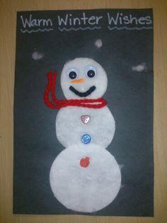 Cotton pad snowman