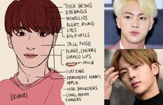 How to draw the characteristic features of Kim Seok-jin (김석진) also known mononymously as Jin (진) of BTS (방탄소년단) in fanart. Drawing Tips, Drawing Reference, Sketching Tips, Character Reference, K Pop, Bts Face, Bts Drawings, Kpop Fanart, Worldwide Handsome