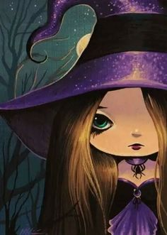 Sweet Little Spell Caster - by Nico Niemi from Fantasy Sci Fi Art Gallery Kunst Portfolio, Artist Portfolio, Halloween Wallpaper, Halloween Backgrounds, Whimsical Halloween, Cute Halloween, Fantasy Kunst, Fantasy Art, Autumn Witch