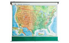 Vintage America Pull Down Map - Old New House® Pull Down Map, Tri State Area, United States Map, Custom Items, Old And New, Back To School, School Days, 1960s, Vintage World Maps