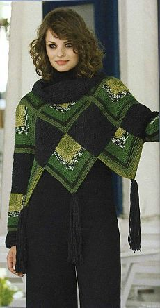 """Photo from the album """"Patchwork Poncho Cape"""" on - . : Photo from the album """"Patchwork Poncho Cape"""" on – Poncho Au Crochet, Pull Crochet, Mode Crochet, Crochet Poncho Patterns, Crochet Cardigan, Knitted Shawls, Crochet Scarves, Crochet Clothes, Knit Crochet"""