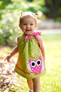 Debbie...I can just see this on your granddaughter :) Owl Polkadot Pillow Case Dress by izzysgma on Etsy, $30.00