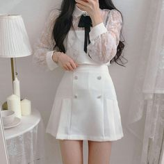 Cute Skirt Outfits, Cute Casual Outfits, Girly Outfits, Pretty Outfits, Stylish Outfits, Beautiful Outfits, Korean Girl Fashion, Korean Fashion Trends, Ulzzang Fashion
