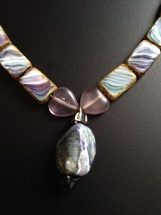 Agate center stone necklace and earring set by JeanineHandley, $35.00