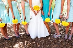 Bridesmaids dresses and flowers.. yellow shoes? love the not so matchy matchy semi casual dresses.