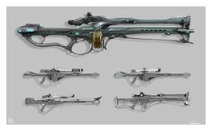 Warframe: Rubico by Sean Bigham on ArtStation. Steampunk Weapons, Sci Fi Weapons, Weapon Concept Art, Fantasy Weapons, Weapons Guns, Warframe Art, 70s Sci Fi Art, Cosplay Weapons, Cool Guns
