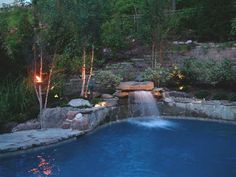 This NJ natural swimming pool design with waterfall was an award winner! Natural stone pool paving and plants Backyard Pool Landscaping, Swimming Pools Backyard, Swimming Pool Designs, Landscaping Ideas, Backyard Ideas, Backyard Decorations, Patio Ideas, Outdoor Ideas, Waterfall Lights