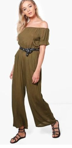 7b58680a2799 Boohoo Annie Off The Shoulder Cheesecloth Jumpsuit Size Uk 10 LS081 GG 02   fashion
